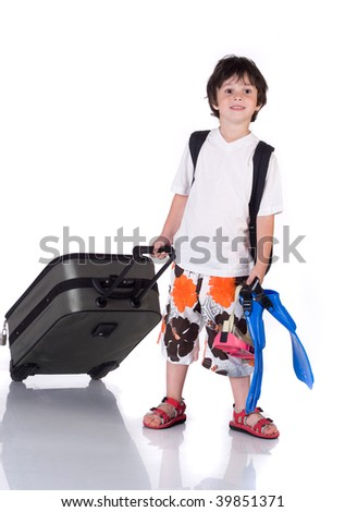 The boy with  gray suitcase and flippers