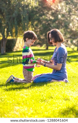 The boy with his mother are sitting on the green grass. The child walks in the park with the parent. Mother's hugs. A woman holds her son's hands and smiles. #1288041604