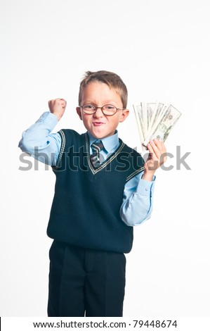 The boy with money in hands on a white background