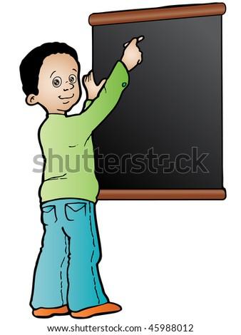 Cartoon Boy Writing