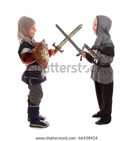 The boys in a suit knight and with a swords fight a battle on a white background