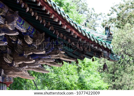 The brackets of the main hall of Lingyan Temple in Taishan, Jinan, Shandong, China #1077422009