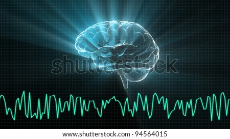 the brain and wave render for medical and biology concept