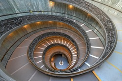 The Bramante Staircase is a double helix, having two staircases allowing people to ascend without meeting people descending