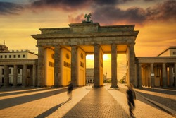 The Brandenburg Gate in Berlin at sunset, Germany