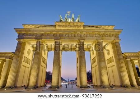 The Brandenburger Tor (Brandenburg Gate) is the ancient gateway to Berlin, Germany