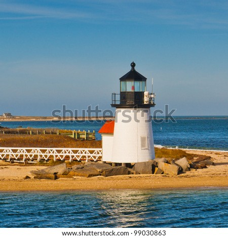 The Brant Point Lighthouse at the entrance to Nantucket Harbor. It is the shortest light house in New England.