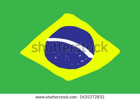 The brazilian flag drawn on paper.