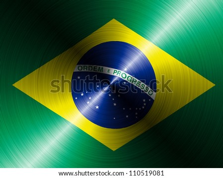The Brazilian flag painted on brushed metall