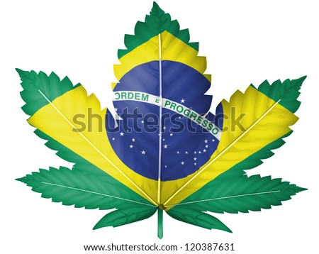 The Brazilian flag painted on  cannabis or marijuana leaf