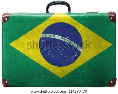 The Brazilian flag painted on  old grungy travel suitcase or trunk