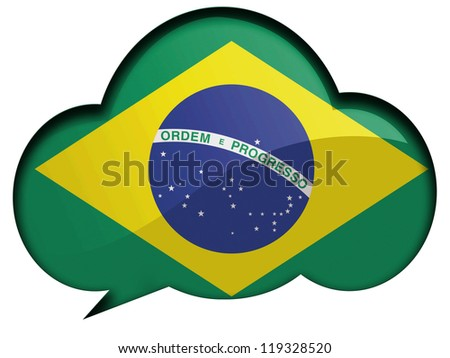 The Brazilian flag painted on  speaking or thinking bubble