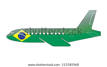 The Brazilian flag painted on the silhouette of a aircraft. glossy illustration