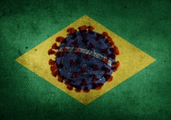 The brazilian flag with the representation of the coronavirus merged with the globe in the middle to represent the covid-19 crisis in Brazil and the new variant