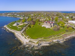 The Breakers and Cliff Walk aerial view at Newport, Rhode Island RI, USA. The Breakers is a Vanderbilt mansion with Italian Renaissance built in 1895 in Bellevue Avenue Historic District in Newport.