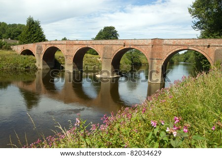The Bredwardine Bridge over river Wye in Herefordshire, England.