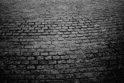 the brick walking street, black and white