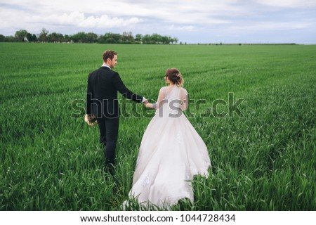 The bride and groom are walking along the field, holding hands. A great spring wedding day. Enamored newlyweds go by the hands on the green field. #1044728434