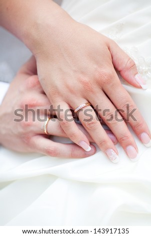 The bride and groom hands together