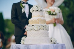 the bride and groom standing near a large wedding cake