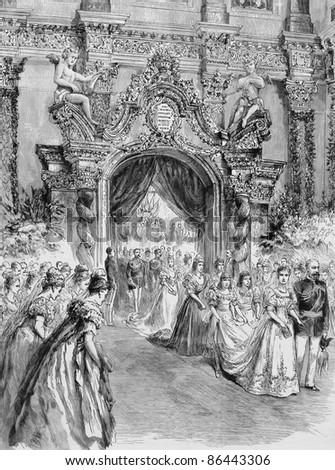 The Bride Entering the Chapel with her Father, the Duke of Coburg. Engraving by anonymous engraver and published in the Graphic newspaper, United Kingdom, 1894.