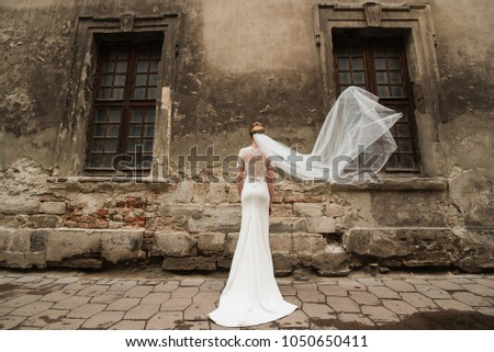 The bride is standing next to the historic house. Bride dress near the old historic facade. Wedding and the historic city. - Shutterstock ID 1050650411