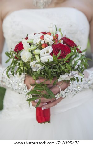 The bride's bouquet. Wedding.