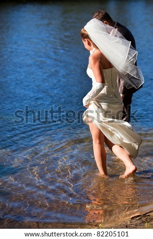 The bride walks on water