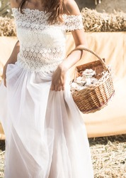 the bride with a basket in her hands ,holiday concept and the wedding