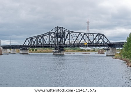 The bridge across a narrow channel separating Manitoulin Island from the much smaller Goat Island, Lake Huron Ontario, Canada