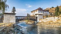 The bridge across the river with traditional bhutan palace, Paro Rinpung Dzong, Bhutan