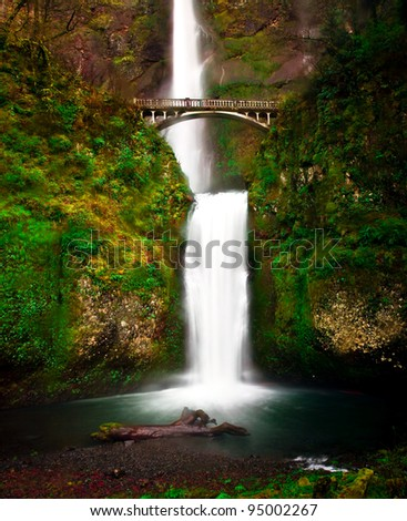 The bridge and view of lower Multnomah Falls, Oregon.