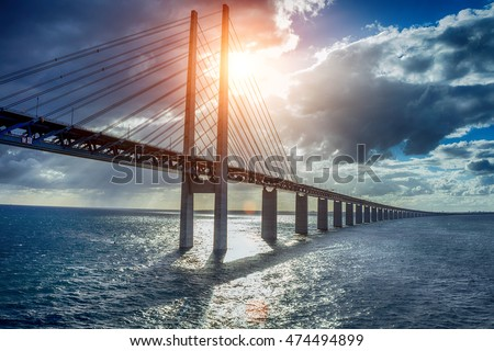 stock photo the bridge between denmark and sweden oresundsbron 474494899 - Каталог — Фотообои «Мосты»
