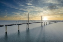 The bridge between Denmark and Sweden, Oresundsbron. Aerial view of the bridge during cloudy stormy weather.