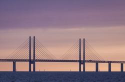 The bridge between Denmark and Sweden, Oresundsbron, in sunset evening in August