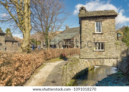The Bridge House, Ambleside, in the English Lake District.  A well known tourist attraction.