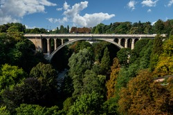 The bridge of Adolf (New Bridge) - a bridge in the city of Luxembourg, (built 1900-1903). The bridge connects Upper and Lower Town: two parts of Luxembourg.