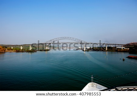 The bridge of the Americas bridge over Panama canal\ The bridge of the Americas â?? a road bridge in Panama, crossing the Pacific ocean approach to Panama canal.