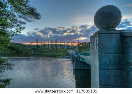 The Bridge Over the Connecticut River During Sunset
