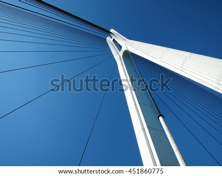 The Bridge Tower of the Tatara Bridge (Tatara Ohashi) in Seto Inland Sea, JAPAN. A cable-stayed bridge as part of Shimanami Kaido expressway and cycling route #451860775