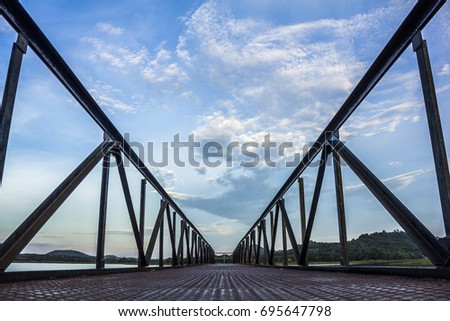 the bridge walkway sky background Thailand #695647798