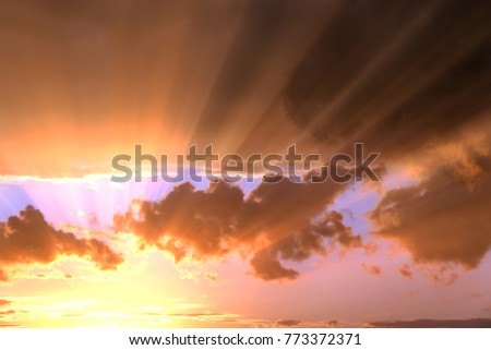 dde602a4f96fb The bright rays of the sun are shining from saturated clouds Images ...
