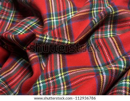 The bright scottish checked fabric.