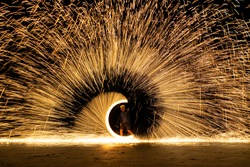 The bright spin fire sparks and fire show  in the night
