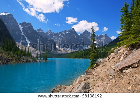 The brilliant turquoise waters of Moraine Lake, Alberta.