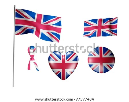 The Britain flag - set of icons and flags on white background