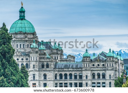 The British Columbia Parliament Buildings, located in Victoria, Vancouver Island, BC, Canada. Home to the Legislative Assembly of British Columbia.  #673600978