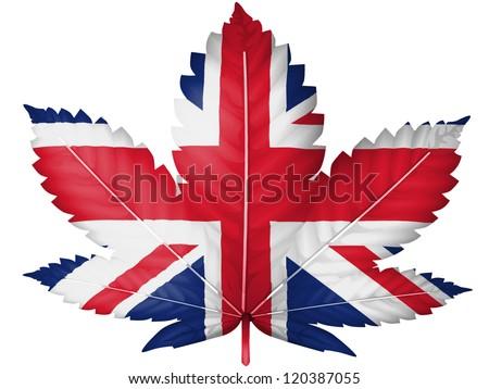 The British flag painted on cannabis or marijuana leaf