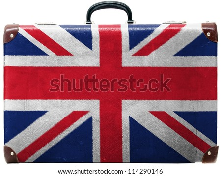 The British flag painted on old grungy travel suitcase or trunk
