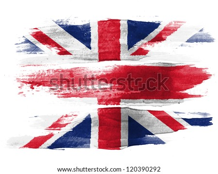 The British flag painted on white paper with watercolor